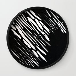 Stripes, lino print Wall Clock