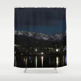 Watercolor Landscape Lake Estes Winter Reflections 01, Estes Park, CO Shower Curtain