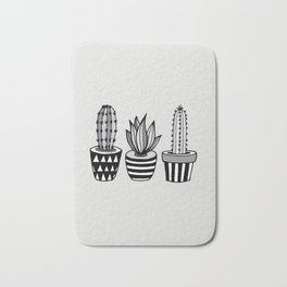 Cactus Plant monochrome cacti nature greyscale illustration floral succulent leaf home wall decor Bath Mat