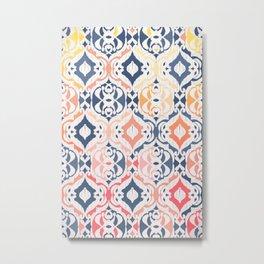 Tropical Ikat Damask Metal Print