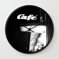 cafe Wall Clocks featuring Cafe  by Julia Aufschnaiter