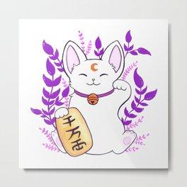 Plant Maneki Neko // White Metal Print