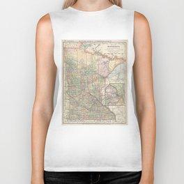 Vintage Map of Minnesota (1891) Biker Tank