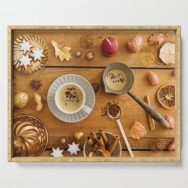 Christmas decoration on wood Serving Tray