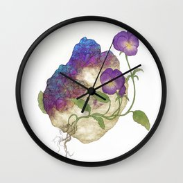 Pansies and Chalcopyrite Crystals Wall Clock