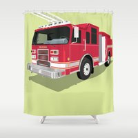 truck Shower Curtains featuring Fire truck by Neuneu Booboo