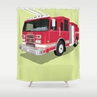 truck Shower Curtains featuring Fire truck by Neuneu Booboo