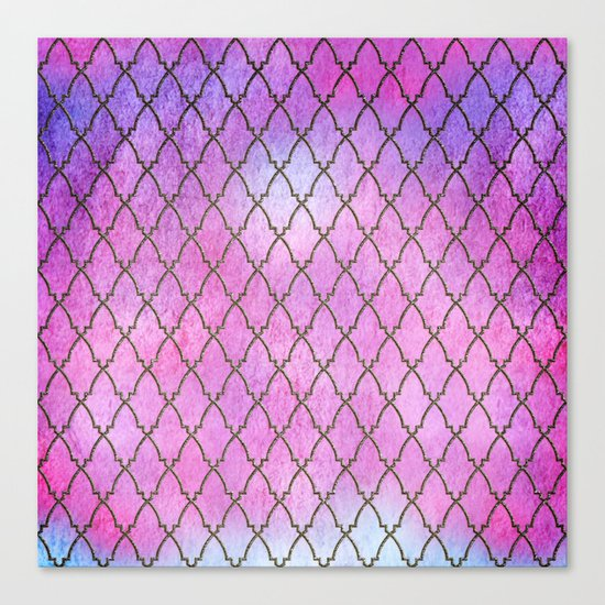 Purple and blue Quatrefoil with Gold Frame- Elegant Morrocan Watercolor Pattern Canvas Print