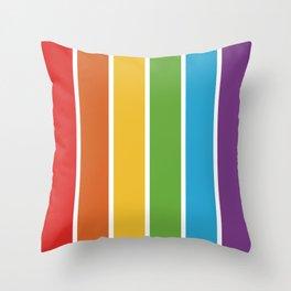 Rainbow Bright Happy Color - Red Orange Yellow Green Blue Purple - Stripes  Pride Throw Pillow