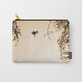 Bird flying in English winter trees Carry-All Pouch