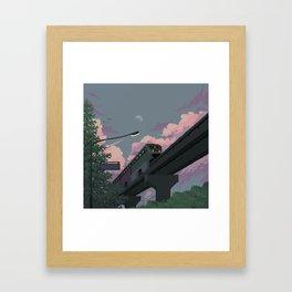 Moonrise Train Framed Art Print
