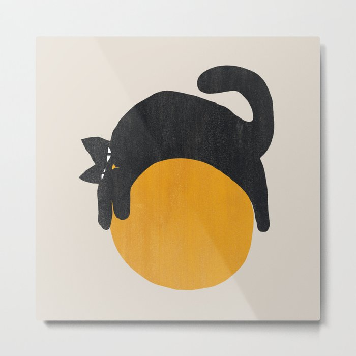 Cat with ball Metal Print