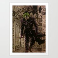 the joker Art Prints featuring joker by DeMoose_Art