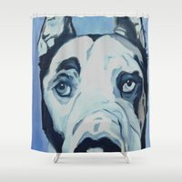 great dane Shower Curtains featuring Great Dane in Purple by Barking Dog Creations Studio