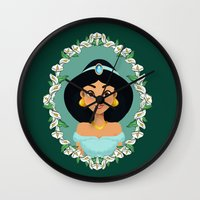 jasmine Wall Clocks featuring Jasmine by Joey Ellson