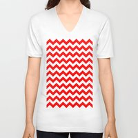 chevron V-neck T-shirts featuring Chevron (Red/White) by 10813 Apparel