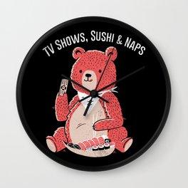 TV Shows, Sushi & Naps Wall Clock