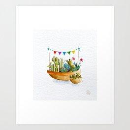 Cactus Buntings Art Print