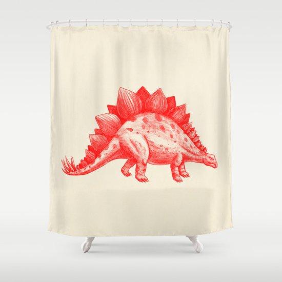 Red Stegosaurus  Shower Curtain