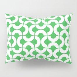White and Green Mid-Century Modern Geometric Pattern Pillow Sham