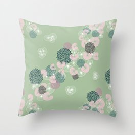 Floral Seamless Pattern on Green Throw Pillow