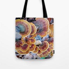 Colorful mushroom growth pattern Tote Bag