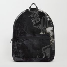 Awesome skull with crow, black and white Backpack