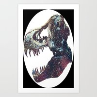 trex Art Prints featuring Galaxy trex by Fallen amongst the wolves