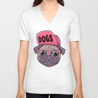 dogs V-neck T-shirts featuring Dogs by Lime