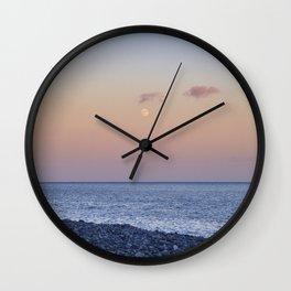 Moon Sunrise At Sunset. Santiago Beach. La Gomera Island. Canary Islands At SunsetMoon Wall Clock