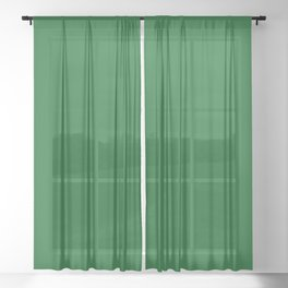 Forest Green Solid Color Block Sheer Curtain