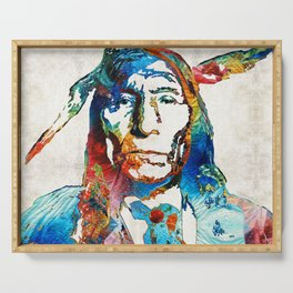 Native American Art - Warrior - By Sharon Cummings Serving Tray