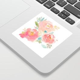 Watercolor Peonies Summer Bouquet Sticker