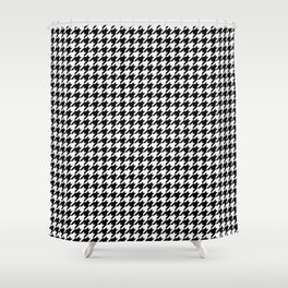 Monochrome Black & White Houndstooth Shower Curtain