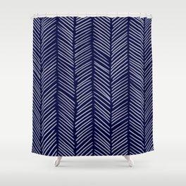 Indigo Herringbone Shower Curtain