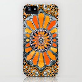 Celebrating the 70's - tangerine orange watercolor on grey iPhone Case