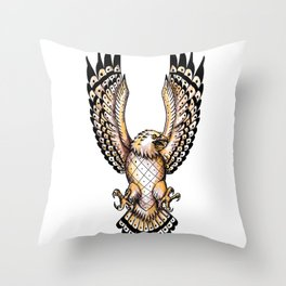 Osprey Swooping Front Tattoo Throw Pillow