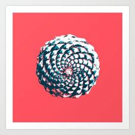 pine cone pattern in coral, aqua and indigo Art Print