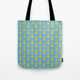 French Country Blue and Gold Ermine Spots Patterned Print Tote Bag