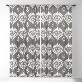 Black and white stylized peacock pattern Sheer Curtain