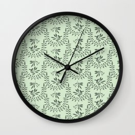 Green Nature Olive Leaf Berry Birds Branch Wall Clock