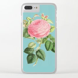 Vintage Flowers - Pink Rose Clear iPhone Case