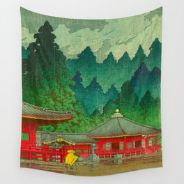 Vintage Japanese Woodblock Print Rainy Day At The Shinto Shrine Tall Pine trees Yellow Rain Coat Wall Tapestry