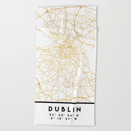 DUBLIN IRELAND CITY STREET MAP ART Beach Towel