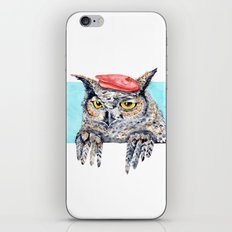 Serious Horned Owl in Red Beret iPhone Skin