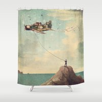 city Shower Curtains featuring City Kite Afternoon by Paula Belle Flores