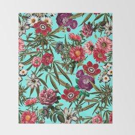 Marijuana and Floral Pattern II Throw Blanket
