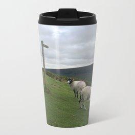 Guidepost amongst sheep Metal Travel Mug