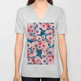 Watercolor bouquet of flowers seamless pattern Unisex V-Neck