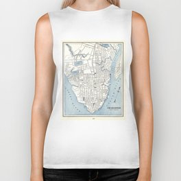 Vintage Map of Charleston South Carolina (1898) Biker Tank